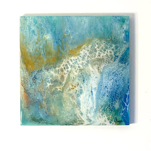 12X12 - Original Acrylic Pour Painting Painting on Wood. Light Blue, Dark Blue, Metallic Gold and White.