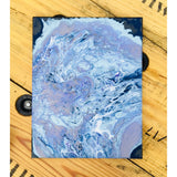 11X14 Original Acrylic Pour Painting Painting on Canvas Light Blue, Dark Blue, Silver Grey, Lavender.