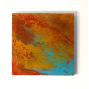 12X12 - Original Acrylic Pour Painting Painting on Wood. Red, Orange, Metallic Gold and Turquoise