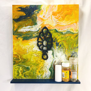 Fluid Flow Painted Shelf with Vintage Trivet Inlay