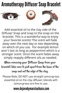Snap Bracelet Diffuser with Clay Spiral  Charm