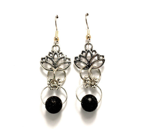Lava Stone Lotus Flower Diffuser Earrings