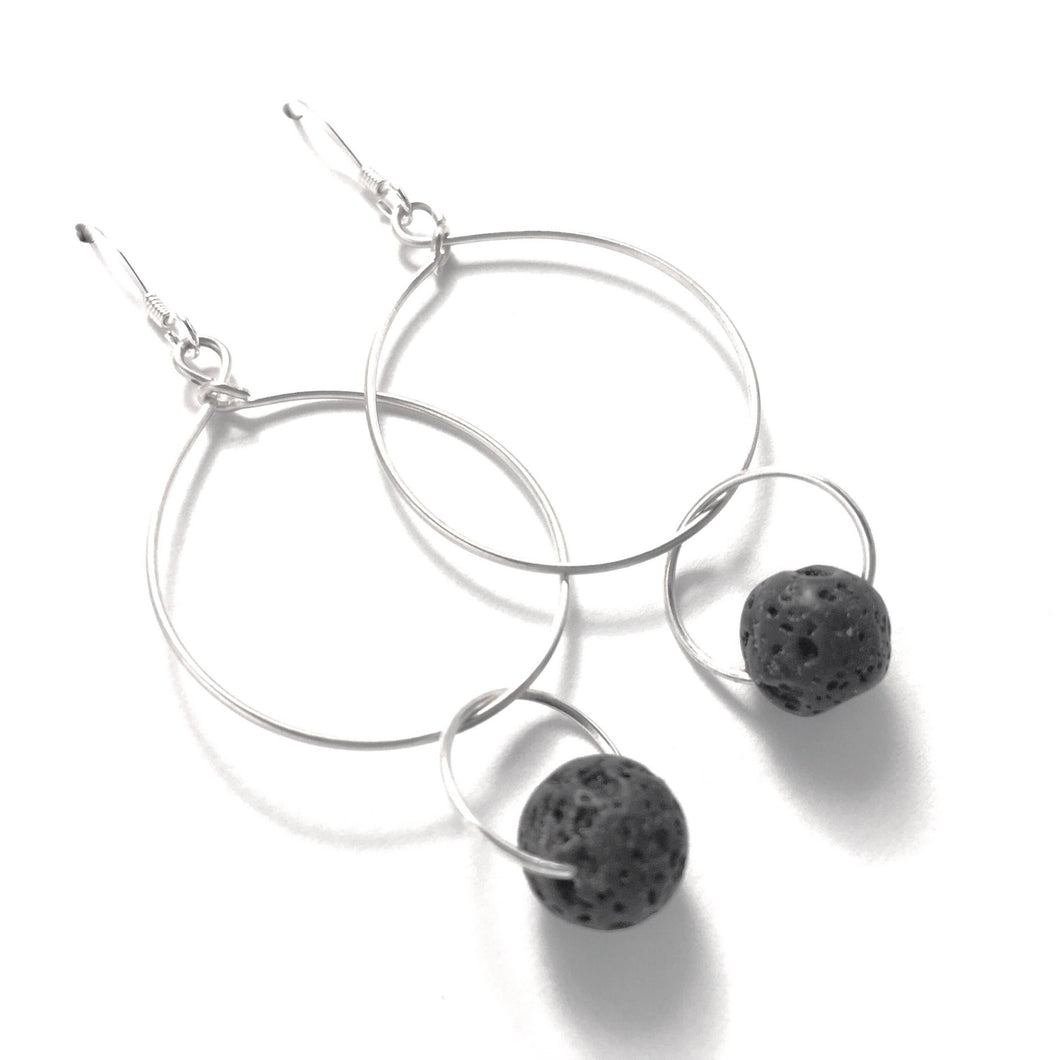 Lava Stone Diffuser Hoop Earrings