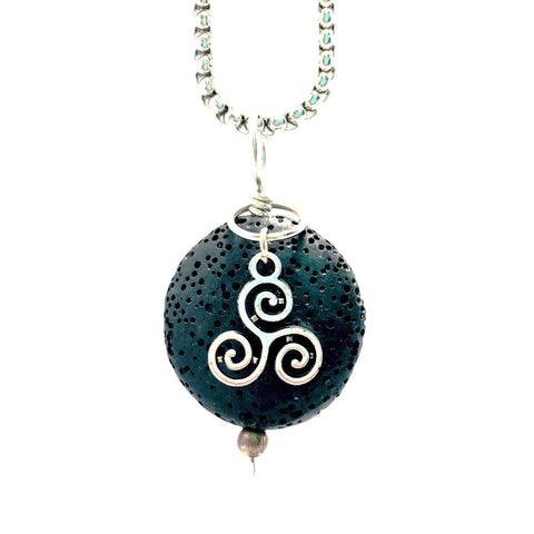 Lava Stone Aromatherapy Diffuser Pendant With Celtic Triskelion Knot Charm