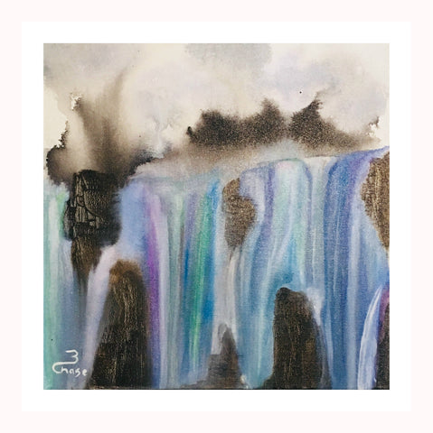 "Acrylic Painting Waterfall  Acrylic on Canvas Original Wall Art ""Falls"""