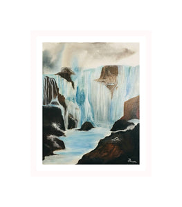 Waterfalls, Hand Painted, Acrylic Painting, Bedroom Decor, Wedding Gift, Canvas Painting, Original Art,