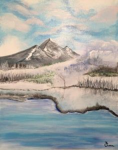 Landscape Painting, Winter Lanscape, Acrylic on Canvas, Original, Mountains, Paintings, Wall Decor, Original Painting,