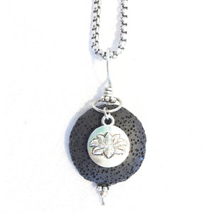 Lava Stone Aromatherapy Diffuser Pendant With Double Sided Lotus Charm