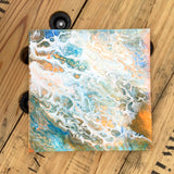 12X12 Original Acrylic Pour Painting Painting on Canvas Orange Blue White - Original ON DISPLAY