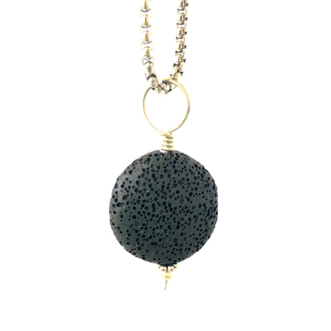 "Flat Round Lava Stone Aromatherapy Pendant 25mm Comes on a 28"" Stainless Steel box chain"