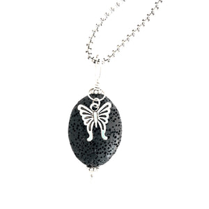 Lava Stone Aromatherapy Diffuser Pendant With Butterfly Charm