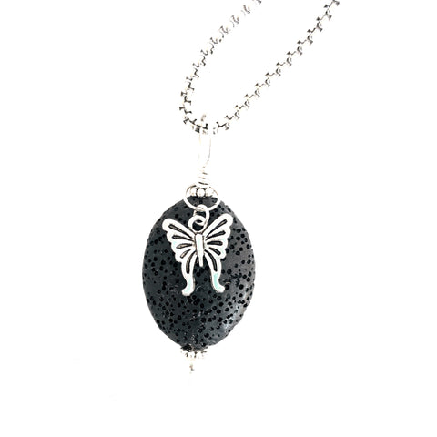Lava Stone Diffuser Necklace Butterfly