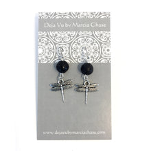 Lava Stone Diffuser Earrings with Dragonfly Charm