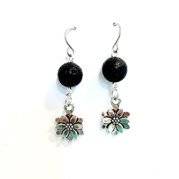 Lava Stone Diffuser Earrings with Flower Charm