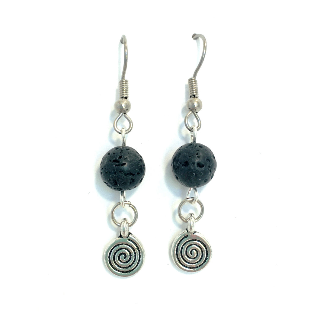 Lava Stone Diffuser Earrings with Spiral Charm