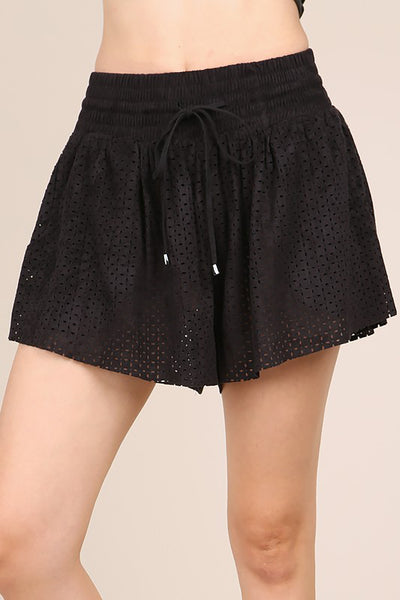 Laser Cut Suede Shorts