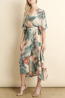 Palm Wrap Midi Dress