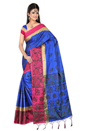 240321aec Cotton Silk printed saree with blouse available in 5 different colors.  Blue. Pink