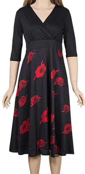Black and Red Floral Dress - The Divaz Closet