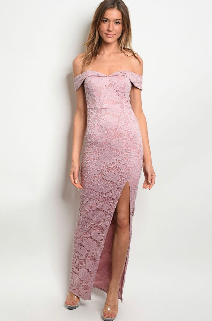 Mauve Lace Dress - The Divaz Closet