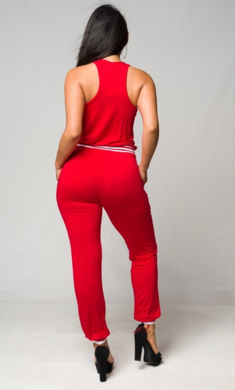 Red Jersey Jumpsuit - The Divaz Closet
