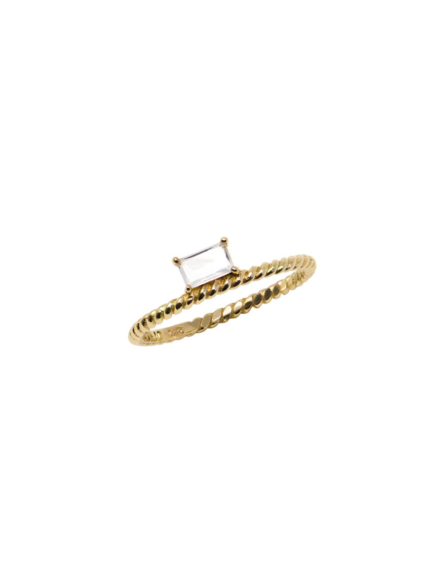 Strata Side Baguette Rope Ring