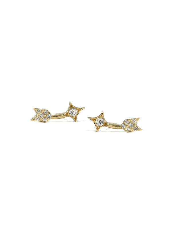 Arrow Ear Crawler Studs - Clear Topaz, Diamonds and Gold