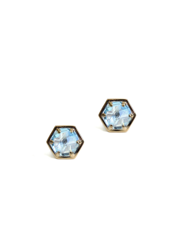 Mini Bolt Studs - Blue Topaz and Gold