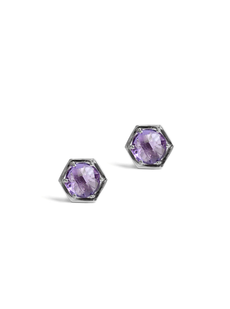 Bolt Studs - Amethyst and Silver