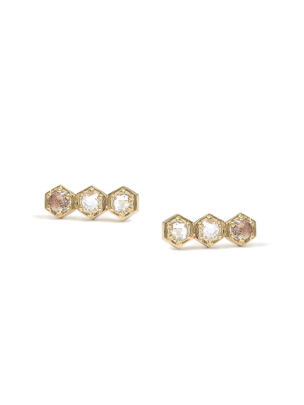 Mini Bolt Crawler Studs - Clear Topaz and Gold