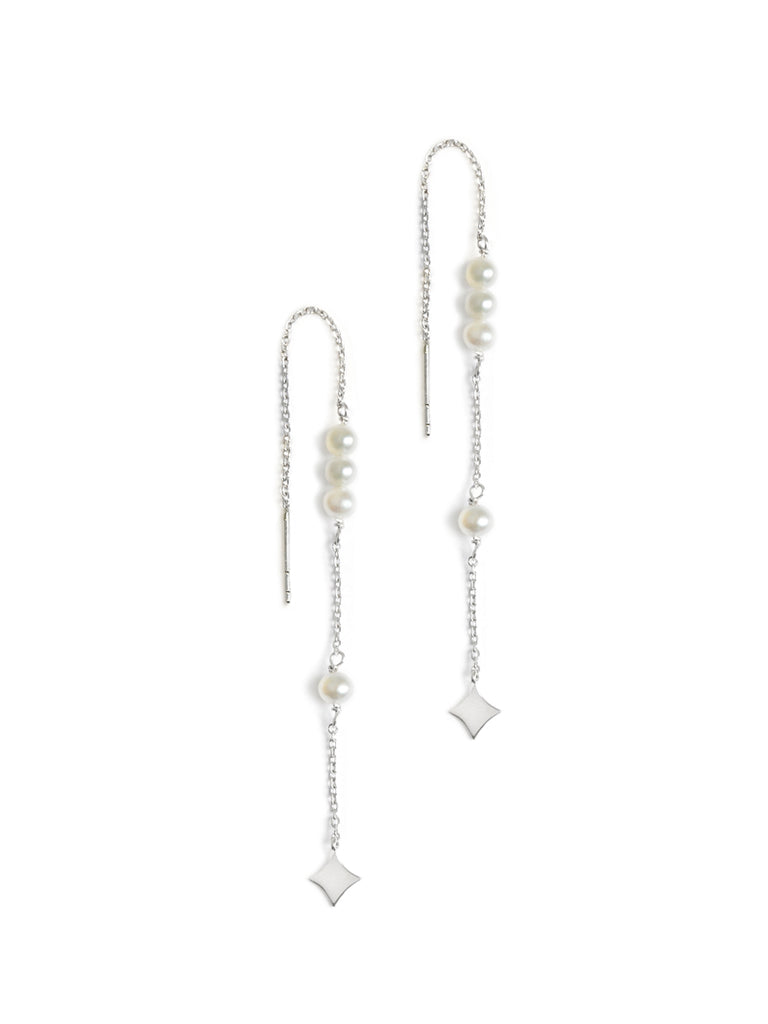 Gothic Diamond Pearl Threader Earrings