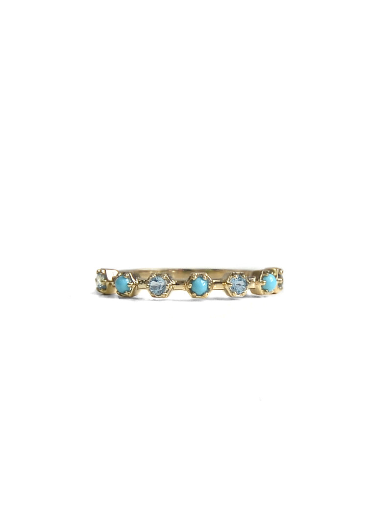 Micro Bolt Half Eternity Ring -  Blue Topaz, Turquoise and Gold