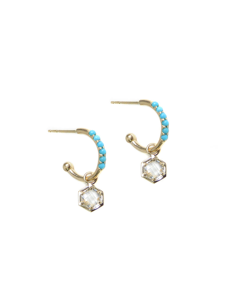 Mini Bolt Pavé Huggies - Turquoise, Clear Topaz and Gold