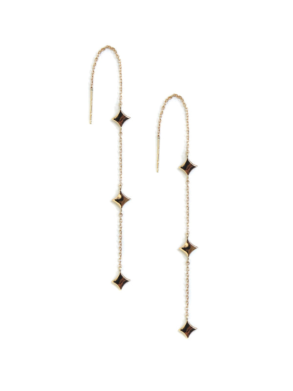 Gothic Diamond Solid Station Threader Earrings