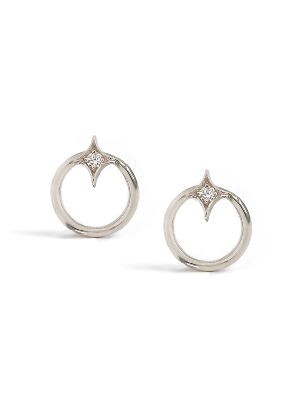 Gothic Diamond Open Circle Studs - Sapphire and Silver