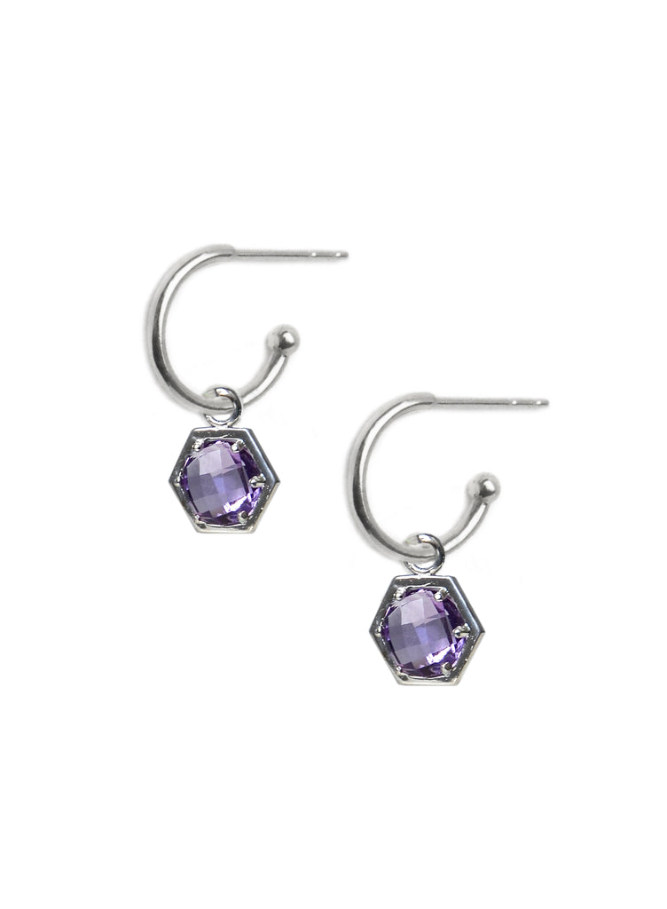 Bolt Huggies - Amethyst and Silver