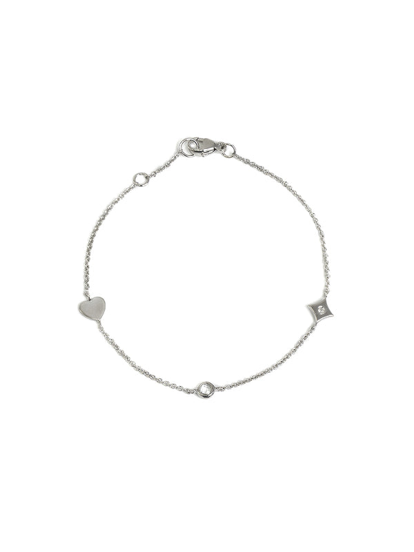 Icon Heart Station Bracelet - White Topaz and Silver