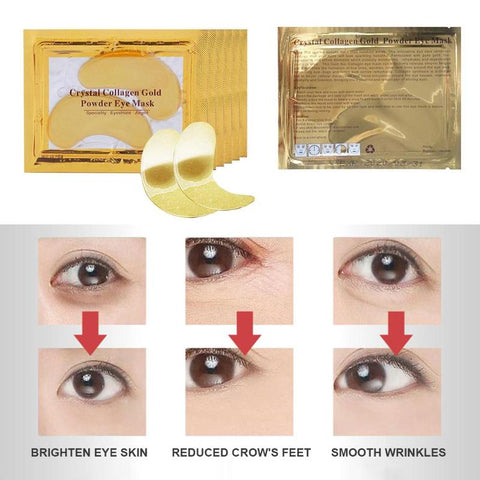 2018 New Arrival 2pcs Gold Crystal Collagen Eye Mask Eye Patches Dark Circles Removal Eye Patches for Face Care
