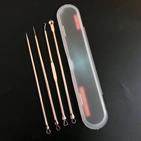 4pcs/set Black Head Remover Beauty Tool Kit Box Pore Clearner Pimple Remover Wart Acne Face Cleaning Blackhead Spot Skin Care