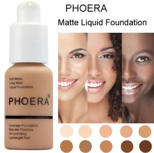 Phoera Perfect Beauty 30ml Liquid Foundation Base Soft Matte Long Wear Oil Control Concealer Foundation Cream Women Makeup