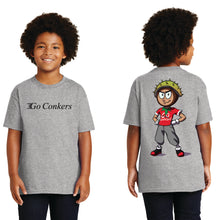 Youth S/S T-Shirt / Go Conkers on Front / Conker Caricature on Back
