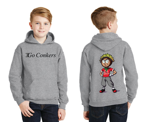 Youth Pullover Hooded Sweatshirt / Go Conkers on Front / Conker Caricature on Back