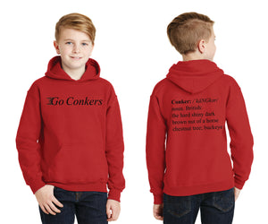 Youth Pullover Hooded Sweatshirt / Go Conkers on Front / Conkers Definition on Back