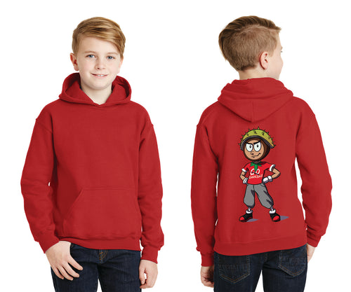 Youth Pullover Hooded Sweatshirt / Conker Caricature on Back