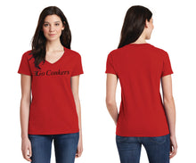 Ladies V-Neck T-Shirt / Go Conkers on Front