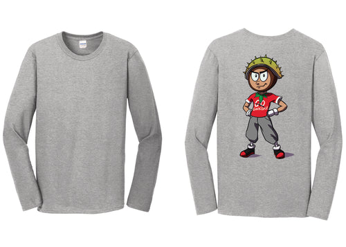 Women's Soft Style Long Sleeved T-Shirt / Conker Caricature on Back