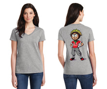 Ladies V-Neck T-Shirt / Conker Caricature on Back