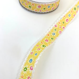25mm Yellow Floral Ribbon