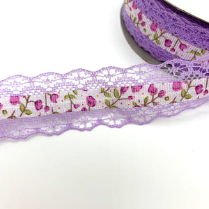 25mm Lilac Floral Ribbon