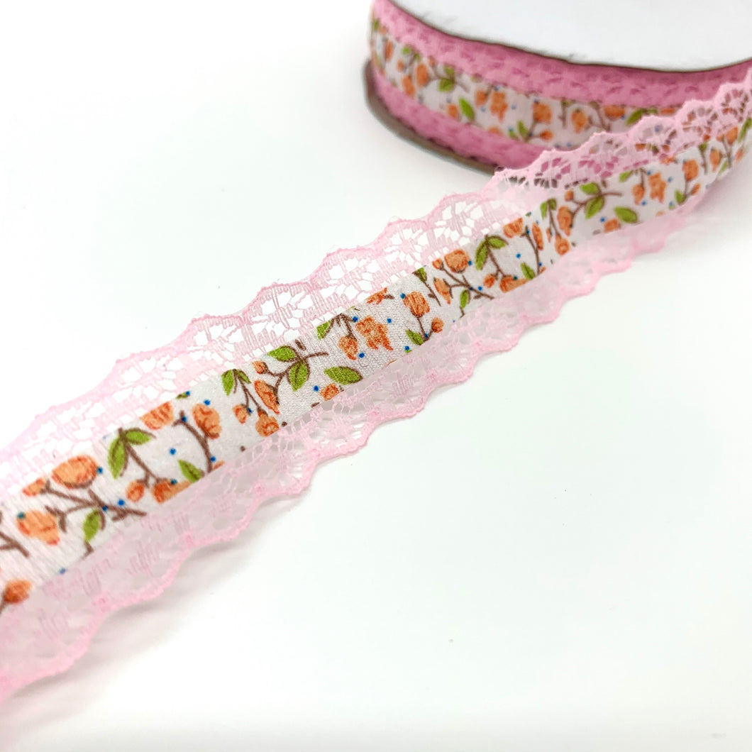 25mm Baby Pink Floral Ribbon